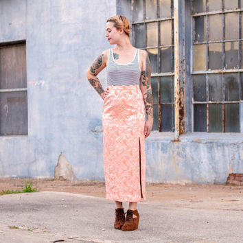 vintage peach and god maxi skirt / 1960s skirt / high waisted skirt / peach maxi skirt with slit / high slit skirt / long pencil skirt