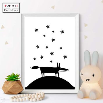 Black and White Fox And Star Wall Art Canvas Painting Posters And Prints Nordic Animals Wall Pictures Kids Room Bedroom Decor