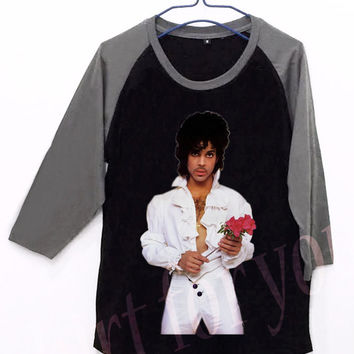 Prince Rogers Nelson Flower Unisex Men Women Black Long Sleeve Baseball Shirt Tshirt Jersey