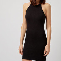 Black Ribbed High Neck Mini Dress