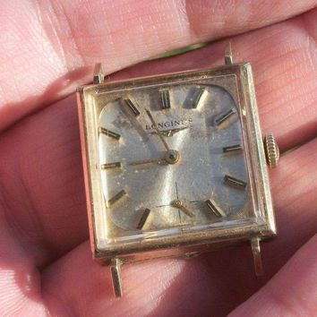 Vintage 1950's LONGINES 10K Yellow Gold Filled Men's 370 Square Wrist Watch~Runs