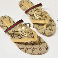 GUCCI Popular Women Leisure Red Green Stripe Letter Print Flat Sandal Slipper Shoes Apricot