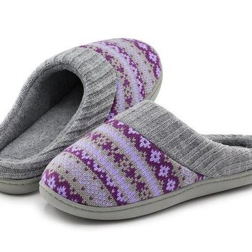 ESBON3F RockDove Women's Sweater Knit Memory Foam House Slippers w/Cute Embroidered Pattern and Ribbed Hand-Knit Collar