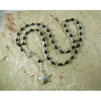 Nut (Nuit) Prayer Bead Necklace in Blue Goldstone: Egyptian Goddess of the Sky and Stars