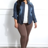 Zinnia Plus Size Solid Pants Bottoms+ GS-LOVE