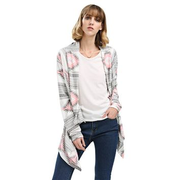 Stylish Collarless Long Sleeve Tribal Print Asymmetrical Cardigan for Ladies