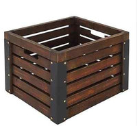 Wooden Milk Crate Brown Kitchen Garage Basement Storage Container Garden Box