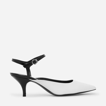 White Pointed Toe Kitten Heels|CHARLES & KEITH