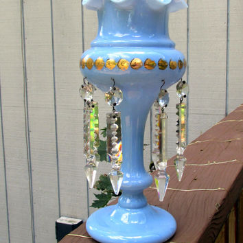 Victorian Antique Ruffled Blue Milk Glass Vase Candle Holder With Suspended Crystal Prisms Something Blue Collectible Gift Item 1672