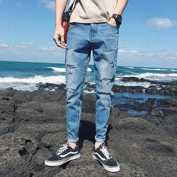 Men Jeans Stretch Skinny Hole Bleached Ripped Casual Solid Men Denim Jeans Ankle-Length Pleated Washed Slim 2018 Summer