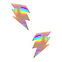 Bright Holographic Silver Lighting Bolt Pasties