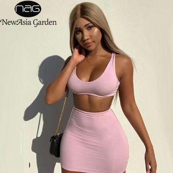 NewAsia Double Layers Pink Two Piece Set Summer Clothes For Women Two Piece Outfits Sexy Short Skirt Set Casual 2 Piece Set 2019