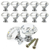 Noble 10pcs 30mm Crystal Glass Diamond Shape Cabinet Knob Cupboard Drawer Pull Handle Used for Cabinet&Drawer&Chest (Size: 3cm by 3cm by 3cm, Color: Transparent)