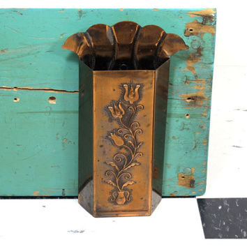 Vintage Copper Color Tall Match Holder . Wood Stove Fireplace Kitchen Matchbox . Embossed Canterbury Bells Flowers