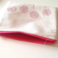 Pink Yoga Flower Pouch - Medium Zipper Bag