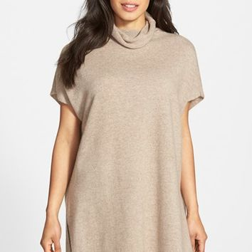 Women's Eileen Fisher Short Sleeve Cashmere Turtleneck Tunic,