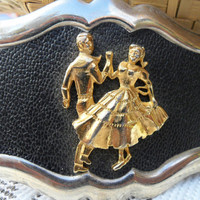 Vintage Western Belt Buckle Square Dancing Couple
