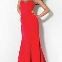 2013 Best Deal Amazing Back Bow Sequin Trim Long Strapless Sweetheart Mermaid Sexy Red Prom/Evening Dresses PD-1259
