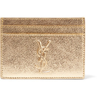 Saint Laurent - Metallic textured-leather cardholder