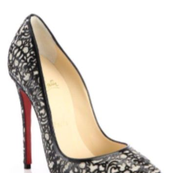 Christian Louboutin So Pretty 120 Patent Glitter Silver Pump sz 38 IT NIB
