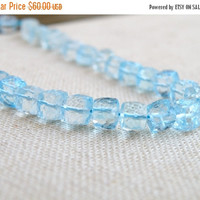 SALE 31% Off Sky Blue Topaz Gemstone Faceted Cube 6mm 15 beads Wholesale