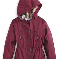 Toddler Girl's Burberry 'Gia' Hooded Showerproof Jacket