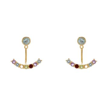 Gold Over Sterling Silver Curved Bar Multi Rainbow Semi Precious Stones Ear Jackets