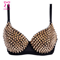 Striking Metallic Rivets Studded Push Up Bra Bralette Sexy Soutien Gorge Steam Punk Bras for Women Underwear Burlesque Brassiere