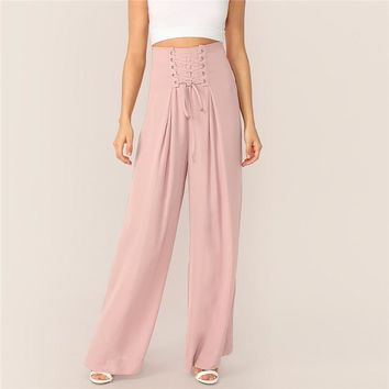 Pink Lace-up Waist Pleated Wide Leg Pants