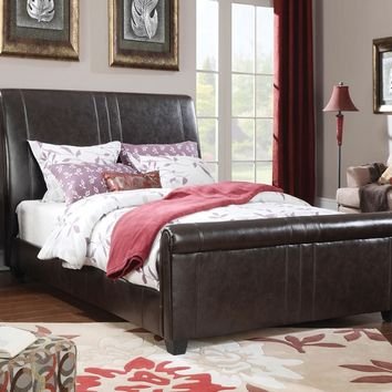 Osborn collection espresso faux leather padded headboard footboard and rails queen size sleigh bed set