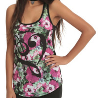 Music Clef Heart Floral Girls Tank Top