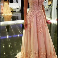 Pink Sleeveless Straps Applique Prom Dresses