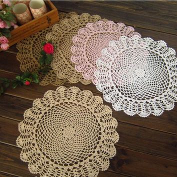 40cm DIY Round lace cotton table place mat cloth crochet placemat pad coaster cup mug Christmas doily kitchen wedding decor R173