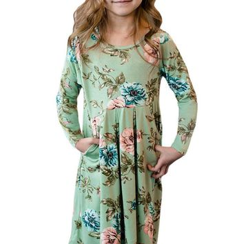 Floral Mint Swing Dress with Hidden Pockets