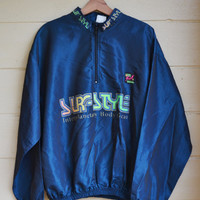 Vintage Surf Style Dark Blue Windbreaker Jacket Interplanetary Body Gear Unisex Windbreaker
