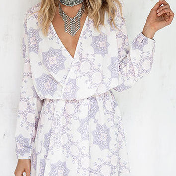 White Floral Pattern Long Sleeve Wrap Mini Dress