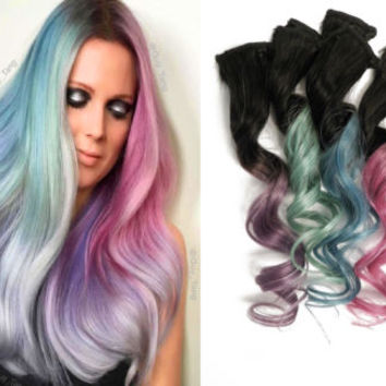 10x Pastel Clip in Human Hair Extensions Metallic Ombre Blue Purple Pink Green
