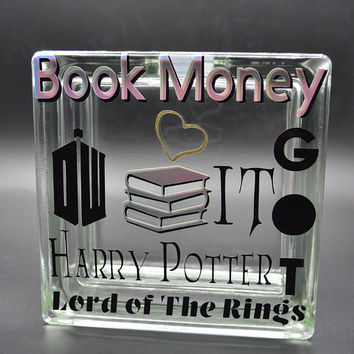 Book Money Glass Block Piggy Bank Vinyl Decal Savings Black Shiny Foil Vinyl