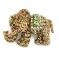 Pave Rhinestone Elephant Brooch Pin - Small Vintage Gold Tone Ornate Gold and Blue Green AB Rhinestones Trunk Up Good Luck Animal
