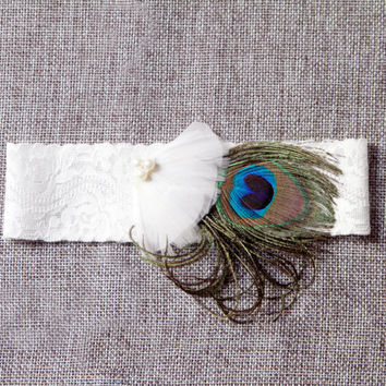 Peacock Feather Bridal Garter - Peacock Wedding Garter Belt - Boho Chic Rustic Wedding Lace Garter Belt