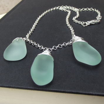 Light Aqua Seaglass Necklace:  Fine Silver Wire Wrapped Seafoam Mint Green Chunky Single Strand Beach Jewelry