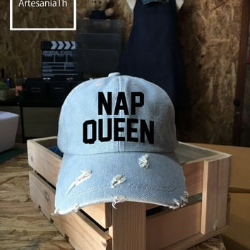 Nap Queen Baseball Cap, Denim Cap, Jean Cap,Nap Queen Hat, Queen Cap, Girlfriend gift, Low-Profile Baseball Cap Baseball Hat