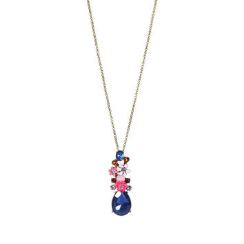 Floral Pattern Precious Stone Necklace