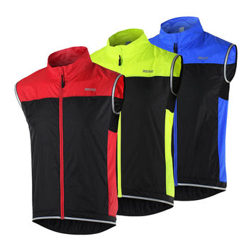 ARSUXEO Cycling Vest Men's Ultrathin Lightweight Sleeveless Coat Jacket Running Bicycle Vest Outdoor Sportswear Windproof