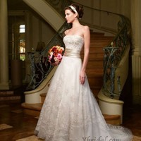A-Line Strapless Chapel Train Satin Wedding Dress WAL06329