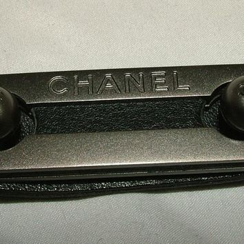 CHANEL Logo Black Studded leather silver hardware skinny belt NWOT size 40