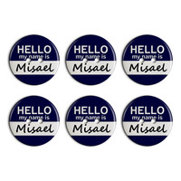 Misael Hello My Name Is Plastic Resin Button Set of 6