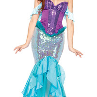 Purple and Blue Tiered and Sequined Mermaid Costume