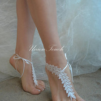 Ivory lace sandals Beach Wedding barefoot sandals lace anklet lace Wedding Shoes beach shoes beach sandals Bridal sandals 6 Colors