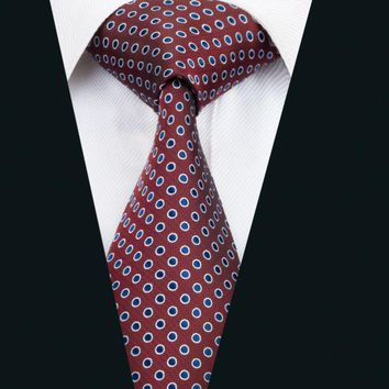 DH-1425 New Arrival Barry.Wang Fashion Men`s Tie Red Polka Dot Necktie Silk Jacquard Ties For Men Business Wedding Party